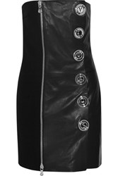 Versus By Versace Embellished Crepe Paneled Leather Mini Dress Black