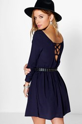 Boohoo Daisy Lace Up Back Woven Skater Dress Navy