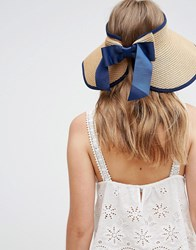 Liquorish Vintage Style Straw Visor With Bow Detail At Back Natural Navy Beige