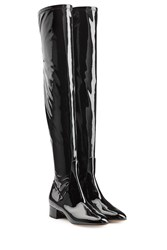 Valentino Patent Leather Over Knee Boots Black