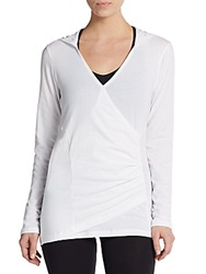 Marc New York By Andrew Marc Performance Mock Wrap V Neck Hoodie White