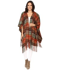 Pendleton Hooded Blanket Shawl Great Smoky Mountains Park Plaid Women's Sweater Multi
