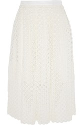 Lela Rose Crocheted Lace Midi Skirt White