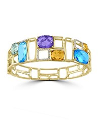 Effy Mosaic Semi Precious Multi Stone Diamond And 14K Yellow Gold Ring
