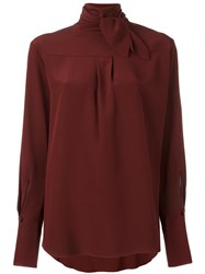 Chloe Neck Tie Blouse Red