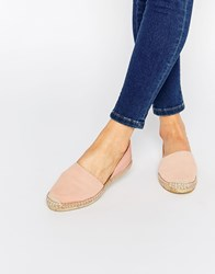 Pieces Jasha Nued Pink Leather Espadrille Two Part Flat Shoes English Rose Beige