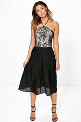 Boohoo Lace Top Pleated Skirt Skater Dress Black