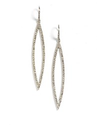 Abs By Allen Schwartz Pave Navette Earrings Silver