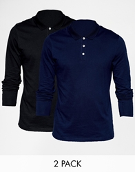 Asos Long Sleeve Polo Shirt In Jersey 2 Pack Save 14 Blacknavy