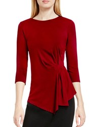 Vince Camuto Three Quarter Sleeve Side Ruched Top Red