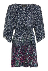 Topshop Thistle Print Dressing Gown Navy Blue