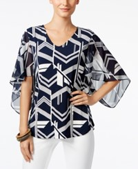 Alfani Printed Kimono Sleeve Top Only At Macy's Navy White