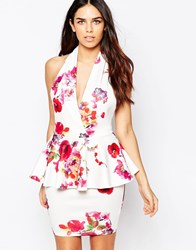 Ax Paris Halter Neck Dress With Peplum In Floral Print Multi