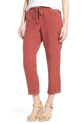 Women's Caslon Linen Tie Front Crop Pants Red Cowhide