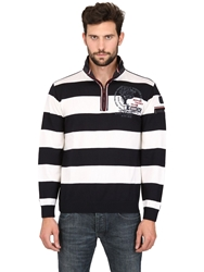 Paul And Shark Wool Striped Zipped Sweater White Navy