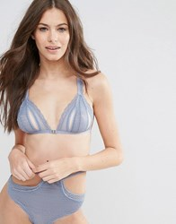 Asos Pearl Lace Cut Out Strappy Triangle Bra Smokey Blue