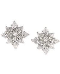 Carolee Silver Tone Crystal Flower Stud Earrings White
