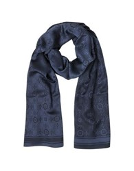 Tory Burch The Traveler Double T Logo Mosaic Jacquard Silk Wool Blend Stole Navy Blue