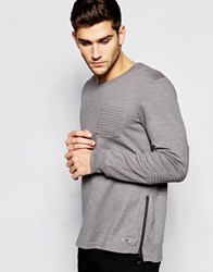 Esprit Sweat With Stitch Detail Pocket And Epaulettes Grey