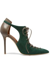 Malone Souliers Montana Cutout Suede And Leather Pumps Emerald
