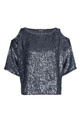 Topshop Double Layered Sequin Cold Shoulder Top Navy Blue