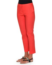 Piazza Sempione Laura Slim Leg Ankle Pants Red Women's
