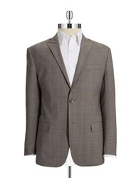 Michael Kors Plaid Wool Blazer Taupe