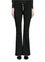 J Brand 'Maria' Exposed Button Flared Pants Black