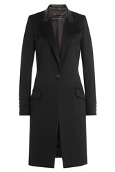 Barbara Bui Wool Coat With Leather Collar Black