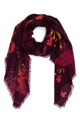Nordstrom Women's Floral Cashmere And Silk Scarf Burgundy Combo