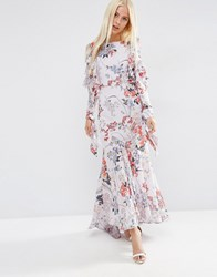 Asos Cold Shoulder Long Sleeve Ruffle Maxi Dress In Grey Floral Multi