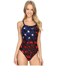 Tyr Valor Diamondfit Red White Blue Women's Swimsuits One Piece Multi