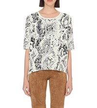 French Connection Snakeskin Textured Knitted Jumper Cream Black