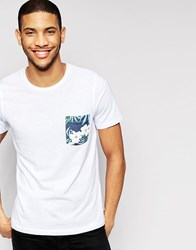 Jack And Jones Jack And Jones T Shirt With Contrast Floral Pocket White