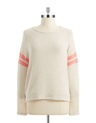 Casual Couture By Green Envelope Stripe Accented Sweater Taupe