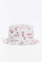 Stussy City Print Bucket Hat Red