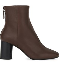 Sandro Sacha Leather Heeled Ankle Boots Marron