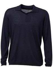 Roberto Collina Fine Knit Polo Shirt Blue