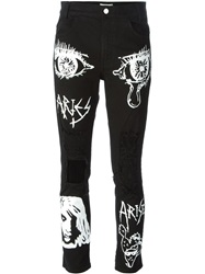 Aries Distressed Painted Cropped Jeans