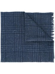 Hackett Raw Edge Plaid Scarf Blue