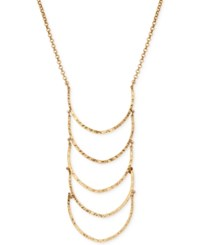 Lucky Brand Gold Tone Patterned Ladder Statement Necklace