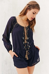Ecote Gauzy Embroidered Romper Navy