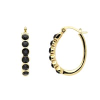 Monet Gold Jet Crystal Oval Hoop Earrings