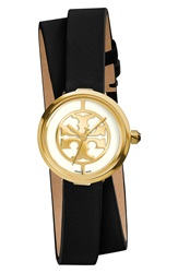 Tory Burch 'Reva' Logo Dial Double Wrap Leather Strap Watch 28Mm Black Gold