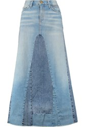 Current Elliott The Reconstructed Paneled Stretch Denim Maxi Skirt Light Denim