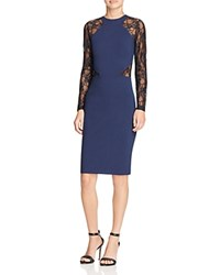 French Connection Viven Lace Sleeve Dress Black