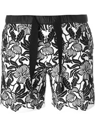 Moncler Floral Embroidered Shorts Black