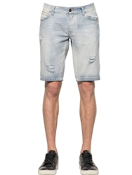 Richmond Washed And Destroyed Raw Denim Shorts Light Blue