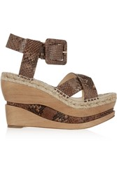 Paloma Barcelo Snake Effect Leather Wedge Sandals Animal Print