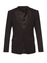 Dolce And Gabbana Martini Fit Peak Lapel Wool Blend Tuxedo Blazer Black